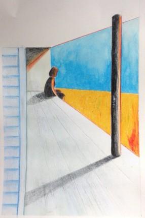 Lámina en acrílico y cera acuarelable - Eva Martinez