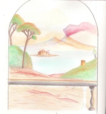 Paessaggio Napoli '600 con Vesunio in fiame