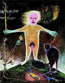 Personatge amb gats, 1948 Oleo sobre tela. Antoni Tàpies