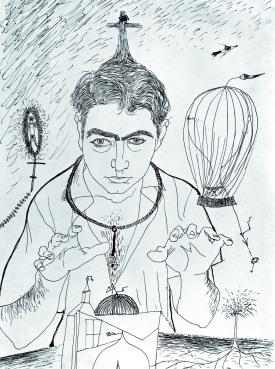 Autorretrato. 1947 Tinta sobre papel. Antoni Tàpies